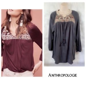 One September Keyhole Boho Embroidered Top